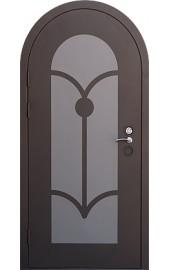 Стальная дверь арочная с аппликацией