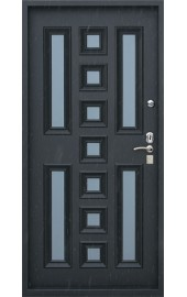 Современная входная дверь с цветной филенкой внутри