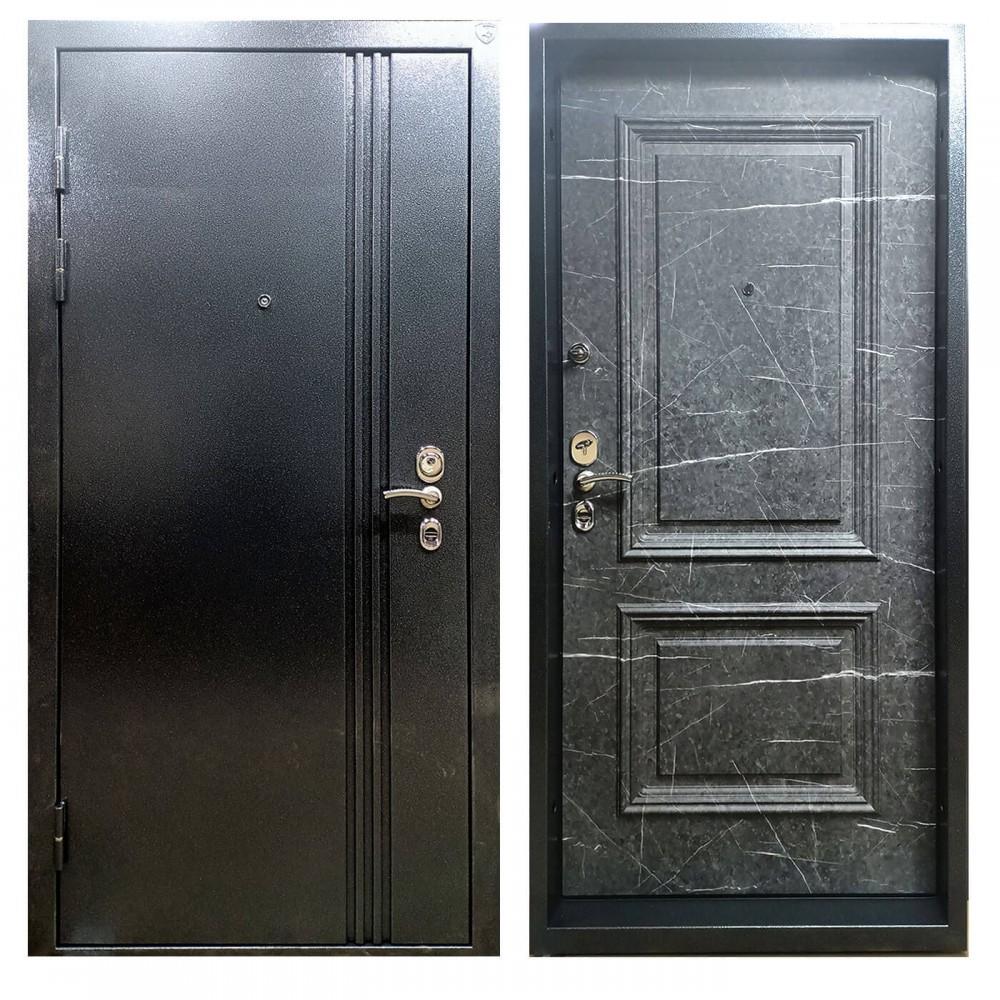 Дверь металлическая в коттедж M-1 Антик серебро / торос черный