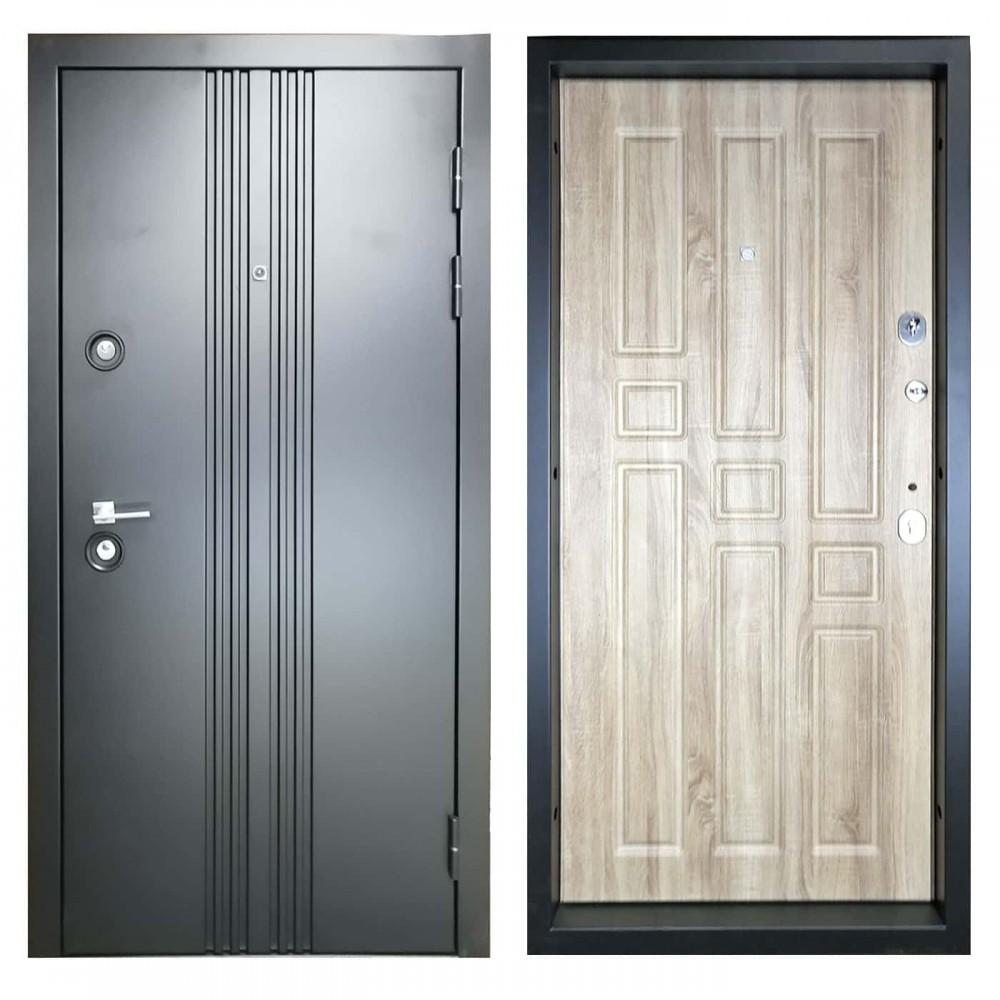 Дверь металлическая М-3-8 угольный металлик / дуб санремо