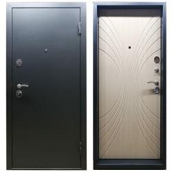 Входная дверь М-2 угольный металлик / белый венге