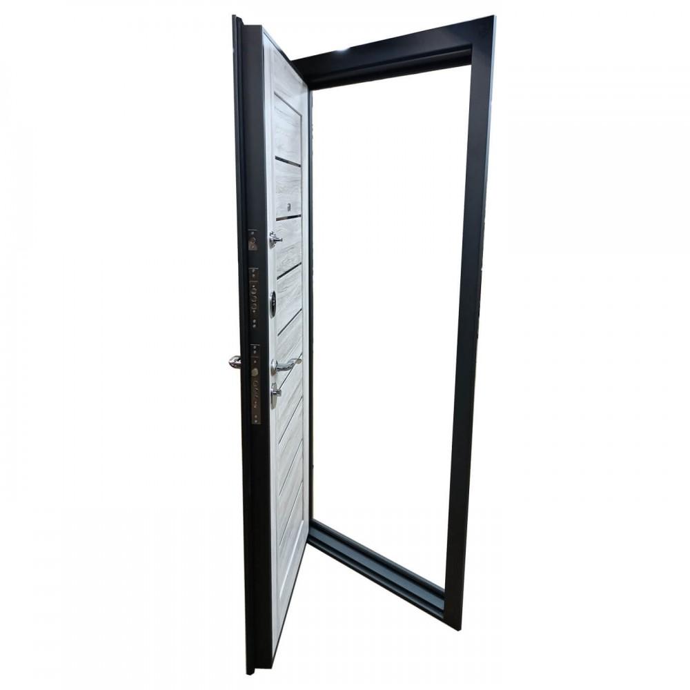 Входная дверь М-615-80 серый металлик / дуб полярный