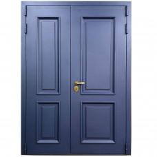 Входная двустворчатая дверь М-20-90 голубой металлик