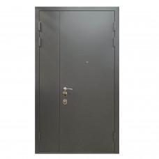 Входная двустворчатая дверь М-1 серый металлик